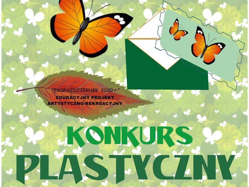 plakat przedstawiający zielono białe motyle oraz jeden pomarańczowy liść, motyl i jedna zielono biała koperta